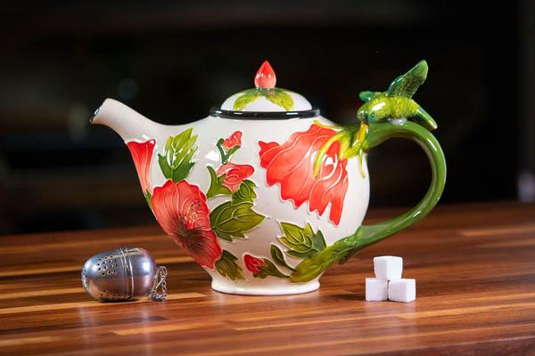 White Hibiscus Teapot